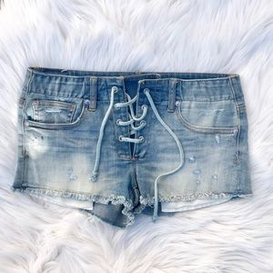 American Eagle Outfitters Shorts - American Eagle Shortie Jean Shorts Lace Up AEO